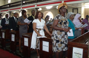 Some of the Guyanese who joined in a religious service in the Cathedral Church of Saint Michael and All Angels on Independence Day.